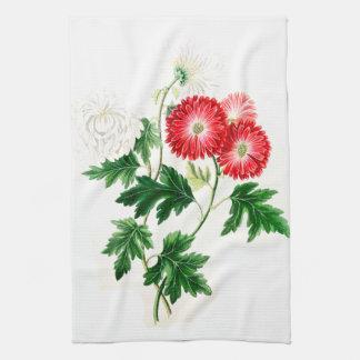 Crysanthemumsの花柄の花の台所タオル キッチンタオル