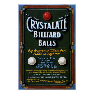 Crystalateのビリヤードボール1908年 ポスター