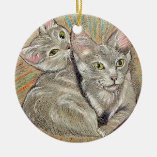 Cuddling cats by Carol Zeock セラミックオーナメント