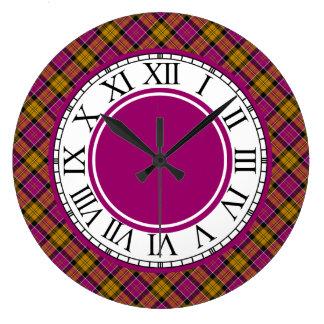 Cullodenスコットランドのタータンチェックのボーダー ラージ壁時計