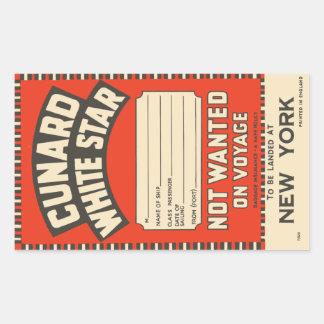 Cunardの白い星(ニューヨークに) 長方形シール