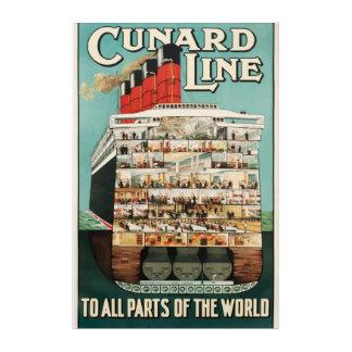 Cunardラインヴィンテージ旅行ポスター アクリルウォールアート