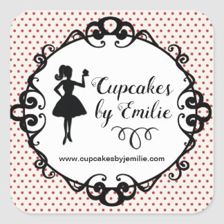 Cupcake Girl Silhouette Packaging Stickers スクエアシール