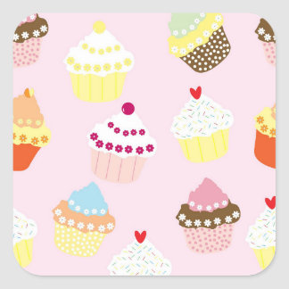 Cupcakes stickers スクエアシール