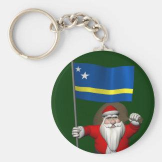 Curaçaoの旗を持つサンタクロース キーホルダー