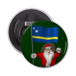 Curaçaoの旗を持つサンタクロース 栓抜き