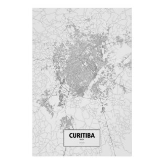 Curitiba, Brazil (black on white) ポスター