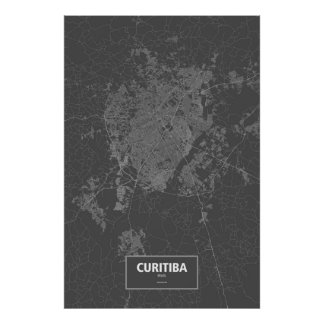 Curitiba, Brazil (white on black) ポスター