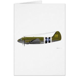 Curtiss C-46のコマンドの侵入のストライプ グリーティングカード
