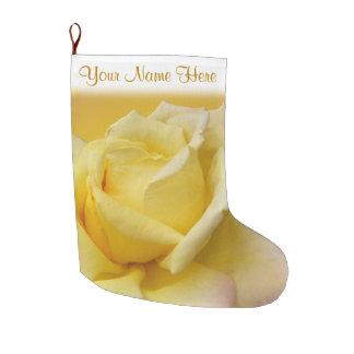 Custoに貯蔵する黄色バラのストッキングのばら色のクリスマス ラージクリスマスストッキング