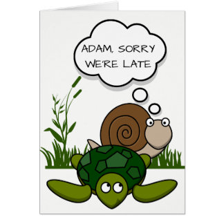 Custom Belated Birthday Card: Snail and Turtle カード