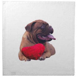 Custom Dogue de Bordeauxの赤いハート ナプキンクロス