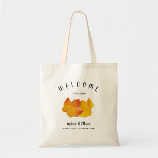 Custom Fall Wedding Welcome Bag Two Leaves トートバッグ