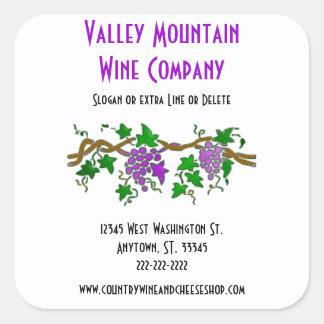 Custom Grape Vine Wine Companyビジネス スクエアシール