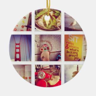 Custom Instagram Photo Collage Ceramic Ornament セラミックオーナメント