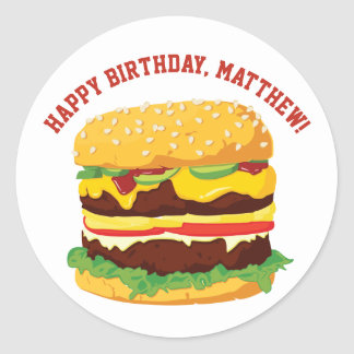 Custom Message Cheeseburger Stickers or Seals ラウンドシール