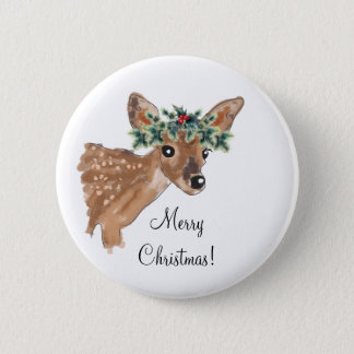 Custom Message Christmas Deer Buttons 5.7cm 丸型バッジ