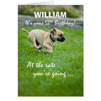 Custom Name 50th Birthday Puppy Running カード