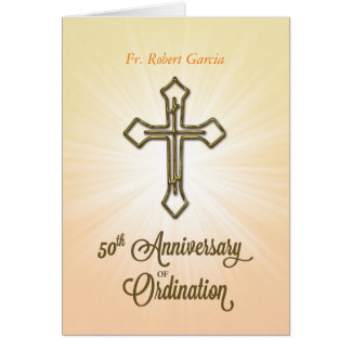 Custom Name, Date, 50th Anniversary of Ordination, カード
