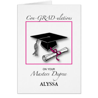 Custom Name Masters Degree, Girl Graduation Pink カード