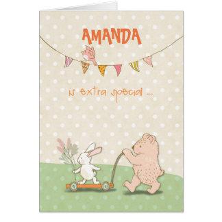 Custom Name Nanny Thanks Bear and Bunny カード