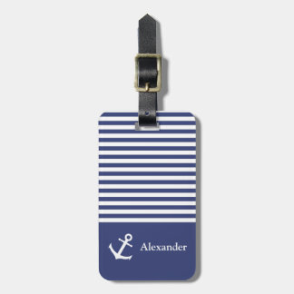 Custom Name Striped Nautica Luggage Tag ラゲッジタグ