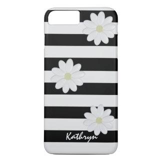 Custom Name White Flowers Striped iPhone 8 Plus/7 Plusケース