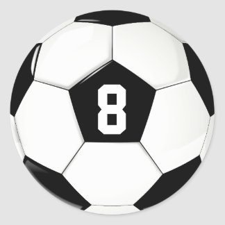 Custom Player Number Black and White Soccer Ball ラウンドシール
