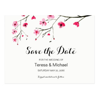 Custom, Save the Date, Watercolor cherry blossoms ポストカード