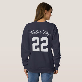 Custom Text and Jersey Number Sports Mom スウェットシャツ