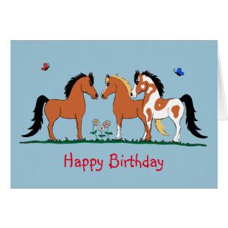 Customeの馬の友達のバースデー・カード カード