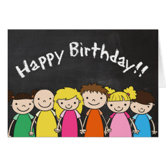 Customizable Happy Birthday with Chalkboard Kids カード