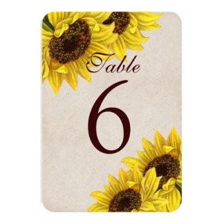 Customizable Sunflower Table Number Cards カード