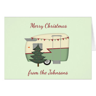 Customizable Vintage Camper Christmas Card カード
