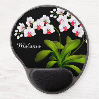 Customizable White Moth Orchid Floral Gel Mousepad ジェルマウスパッド