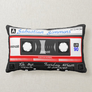 Customized Cassette Tape Birth or Any Day Pillow ランバークッション