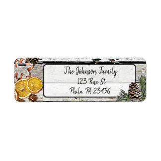 Customized Rustic Christmas Holiday Address Labels ラベル