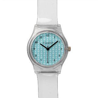custonの名前のモダンで航海のないかりの腕時計 腕時計