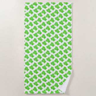 Cut Green And White Frogs Pattern ビーチタオル