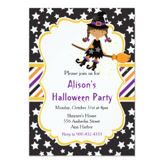 Cute African American Witch Halloween Party カード