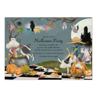 Cute Animal Halloween Party Invitation カード