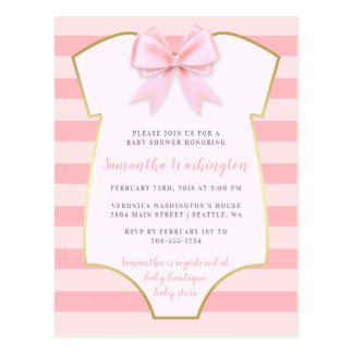 Cute Baby Girl Blush Pink Bow & Gold Baby Shower ポストカード