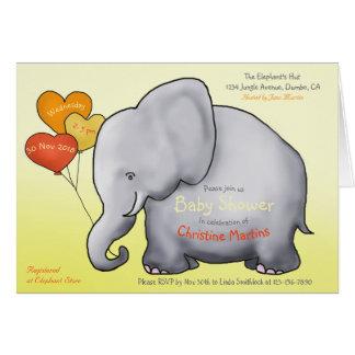 Cute Balloons Elephant Baby Shower Invitation カード