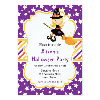 Cute Blonde Witch Halloween Party カード