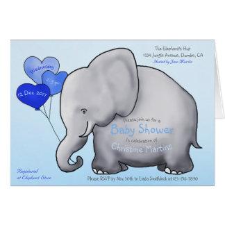 Cute Blue Balloons Elephant Baby Shower Invitation カード