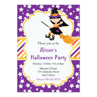 Cute Brunette Witch Halloween Party カード