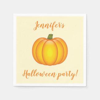 Cute Cartoon Pumpkin Personalized Halloween Party スタンダードカクテルナプキン