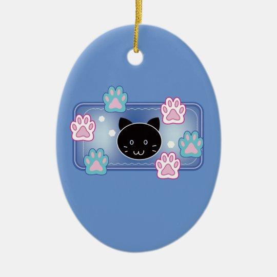 Cute cat and paw pads (blue) セラミックオーナメント