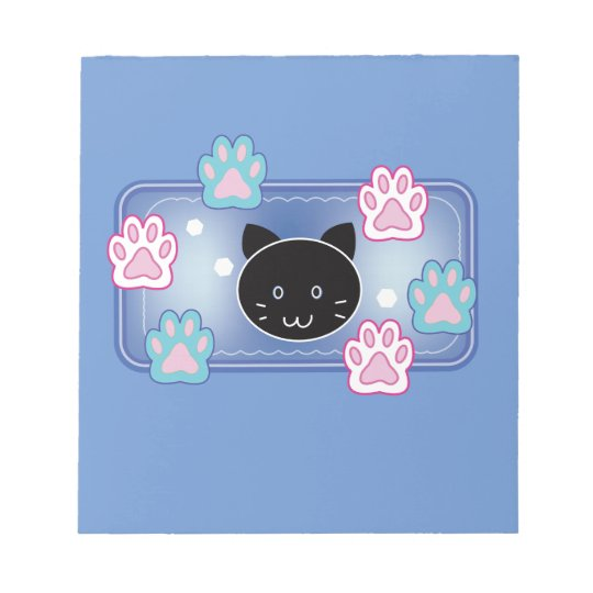 Cute cat and paw pads (blue) ノートパッド