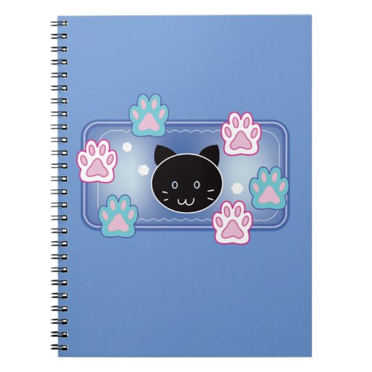 Cute cat and paw pads (blue) ノートブック